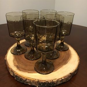 7 Facet Brown Wine Water Goblets By Libbey Rock